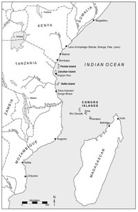 Map of the Swahili coast